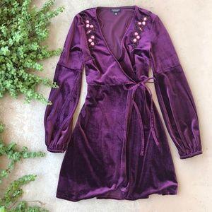 Topshop Maroon Velvet Floral Embroider Wrap Dress